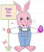 pic of buck teeth  - Easter Bunny holding eggs for sale sign with flowers and butterflies - JPG