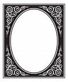Ornate Oval Black And White Framework. Kazakh And Kyrgyz Ethnic Style. Decorative Corner. poster