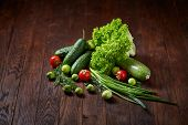 Fresh Vegetables Composition Over Wooden Background, Close-up, Flat Lay. Assortment Of Fresh Vegetab poster