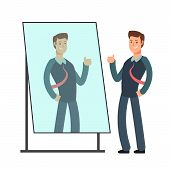 Cartoon Businessman Loves To Look At His Reflection In Mirror. Egoistic Person Vector Consept. Busin poster