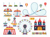 Amusement Park Attractions. Train, Ferris Wheel, Carousel And Roller Coaster Flat Vector Icons. Amus poster