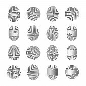 Fingerprint Detailed Icons. Police Scanner Thumb Vector Symbols. Identity Person Security Id Pictogr poster