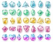 Color Cutting Gems, Nature Brilliants. Precious Stones And Diamonds Vector Set Isolated On White Bac poster