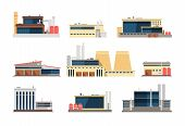 Industrial Factory, Power Plant And Warehouse Buildings. Industrial Construction Vector Flat Icons.  poster