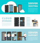 Hardware Server System And Network Administration. Data Storage Engineering Service. Vector Hosting  poster