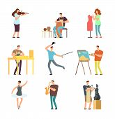 Happy People Of Art And Music. Cartoon Artists And Musicians Vector Isolated Characters In Creative  poster