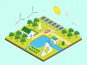 Ecology Green Energy Consumption Concept 3d Isometric View Include Of Solar Battery And Wind Station poster
