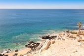 picture of cortez  - Scenic View of Sea of Cortez from rocky desert cliff - JPG