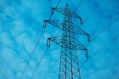 High Voltage Electricity Tower With Wires, Landscape. Photo Depicting One High Voltage Powerful Towe poster