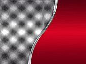 Red And Silver Metallic Background, Metal Background With Waves, Abstract Vector Illustration Eps10 poster