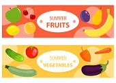 A Set Of Two Horizontal Fruit And Vegetable Banners. Two Horizontal Banners With Fruits And Vegetabl poster