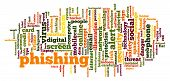 Phishing Word Cloud. Creative Illustration Of Idea Word Lettering Typography . 3d Rendering. poster