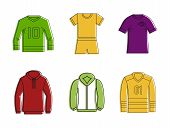 Sport Clothes Icon Set. Color Outline Set Of Sport Clothes Vector Icons For Web Design Isolated On W poster