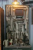 Image Of Variety Of Handy Tools. Set Of Tools On Wood Panel Background. Many Rusty Grunge Wrench Too poster