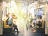 Blurred Image Of Passenger Or City People Lifestyle Inside The Train Subway Station, Transport In Ru poster