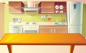Vector Cartoon Illustration Of Cozy Modern Kitchen With Dinner Table And Household Appliances, Fridg poster