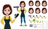 Hairdresser Woman In Professional Uniform. Beautiful Lady Stylist Cartoon Character Creation Set, Pa poster
