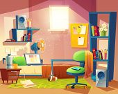 Vector Small Room With Mess, Cartoon Bedroom, Dormitory With Furniture. Student, Pupil Cozy Apartmen poster
