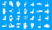 Hand Object Icon Set. Simple Set Of Hand Object Vector Icons For Web Design Isolated On Blue Backgro poster