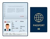 Vector Blank Open Passport Template. International Passport With Sample Personal Data Page. Document poster
