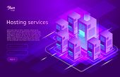 Web Hosting And Data Center Isometric Vector Illustration. Concept Of Big Data Processing, Server Ro poster