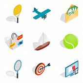 Progress Icons Set. Isometric Set Of 9 Progress Vector Icons For Web Isolated On White Background poster
