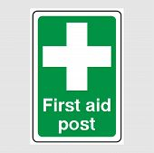 First Aid Post Signs. Green First Aid Post Sign. poster