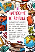 Welcome Back To School Sketch Poster Of Education Stationery And Lesson Supplies. Vector Chemistry B poster