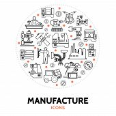 Production Round Concept With Industrial Machineries Equipment Engineer Technician Robotic Arms Fork poster