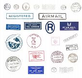 Постер, плакат: Винтажные авиапочтовые марки
