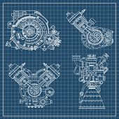 Постер, плакат: A Set Of Drawings Of Engines Motor Vehicle Internal Combustion Engine Motorcycle Electric Motor