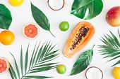 Summer Tropical Composition. Green Palm Leaves And Tropical Fruits On Gray Background. Summer Concep poster