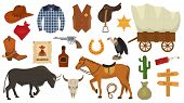 Wild West Vector Western Cowboy Or Sheriff Signs Hat Or Horseshoe In Wildlife Desert With Cactus Ill poster