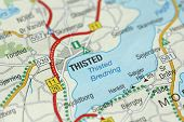 Thisted. Kongeriget Danmark. A Paper Map And Roads On The Map. poster
