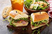 Italian Sub Sandwich With Salami, Ham And Caesar Salad poster