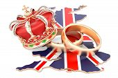 Royal Wedding Concept. Wedding Rings With Royal Crown On The British Map, 3d Rendering poster