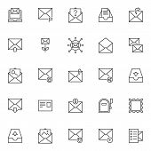 Mail Outline Icons Set. Linear Style Symbols Collection, Line Signs Pack. Vector Graphics. Set Inclu poster