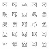 Mail Universal Outline Icons Set. Linear Style Symbols Collection, Line Signs Pack. Vector Graphics. poster