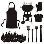 stock photo of tong  - A set of barbeque silhouette icons isolated on white background - JPG