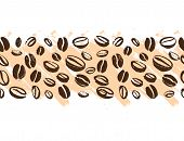Vector Seamless Coffee Backdrop Design With Hand Drawn Coffee Beans Isolated On White Background. In poster