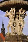 image of samson  - Samson fountain in the square in the Czech Budejovice - JPG