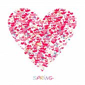 Love Spring. Heart Love With Notes. Romantic Love Love Illustrations For Design T-shirts, Logo, Gree poster