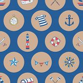 Polka Dots Nautical Elements, Boat, Compass, Chest, Anchor, Shipwheel. A Playful, Modern, And Flexib poster