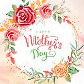 Happy Mothers Day. Greeting Card With Mothers Day. Floral Background. Vector Illustration. poster