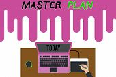 Handwriting Text Writing Master Plan. Concept Meaning Dynamic Longterm Planning Document Comprehensi poster