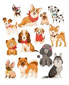 Happy Dogs. Cute Puppy Sitting Or Standing Pets And Home Funny Animals Cartoon Isolated Dog Vector S poster