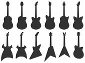 Guitar Silhouette. Acoustic Jazz Guitars, Musical Instruments Silhouettes And Electric Rock Guitar S poster