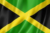 foto of jamaican flag  - Jamaica flag three dimensional render satin texture - JPG