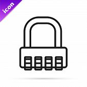 Black Line Safe Combination Lock Icon Isolated On White Background. Combination Padlock. Security, S poster