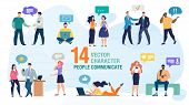 Communicating Personally And Using Gadgets People Trendy Flat Vector Characters Set. Man And Woman T poster